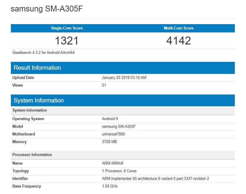 Samsung Galaxy A30 набрал в одноядерном тесте 1321 балла, в многоядерном - 1442 балла