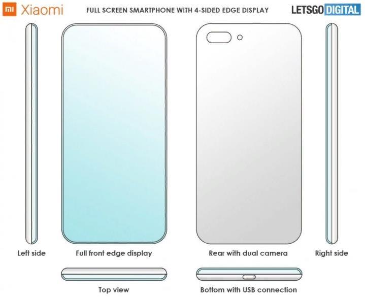 Xiaomi запатентовал дисплей с 4 изогнутыми краями