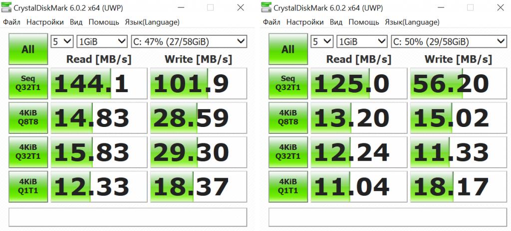Скорость памяти xidu phillbook в CrystalDiskMark 6.0.2