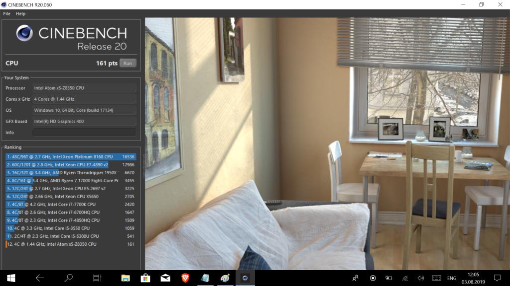 Производительность Xidu PhilBook в бенчмарке Cinebench rel. 20